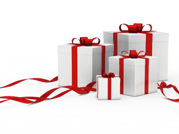 Blanc coffrets cadeaux avec ruban rouge Photo gratuit