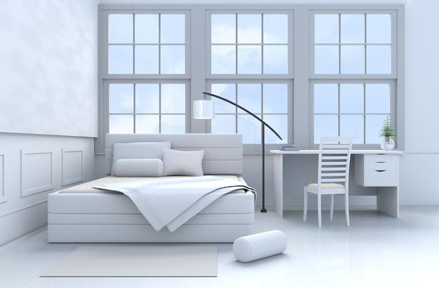 Blanc oreillers de décor de chambre, couverture, fenêtre ...