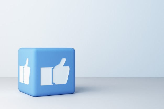 Bleu Comme Icône Conçu Boîte 3d Rendu 3d Photo Premium