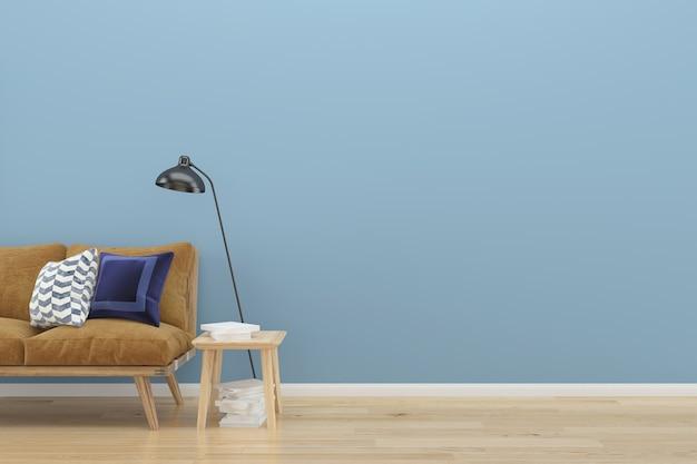 Bleu pastel mur loft marron canapé bois plancher arrière-plan ...