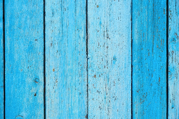 Bleu vieux fond en bois avec peinture fissurée, panneaux parallèles Photo Premium