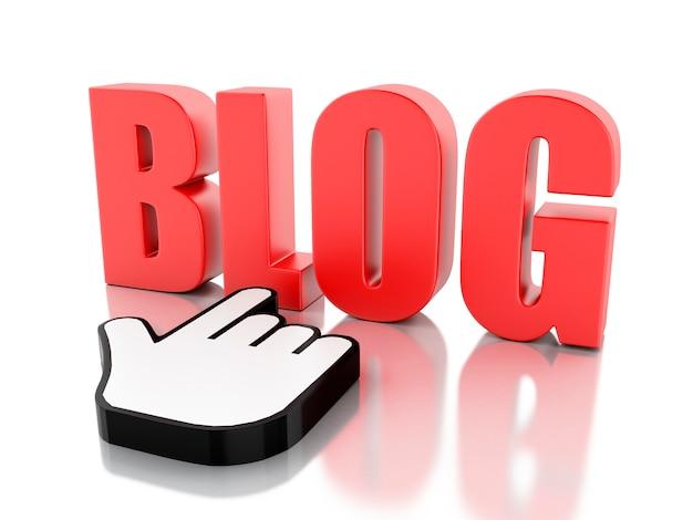 Blog word 3d avec curseur de souris Photo Premium