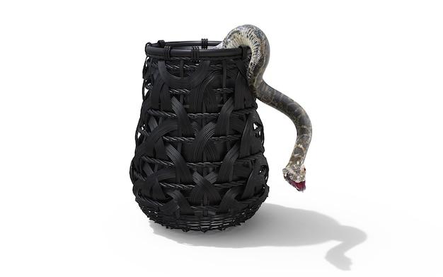 Boa constrictor snake isolé sur fond blanc dans un seau avec un tracé de détourage Photo Premium