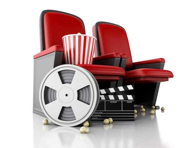 Bobine de film 3d, pop-corn et clap de cinéma sur le siège du théâtre. Photo Premium
