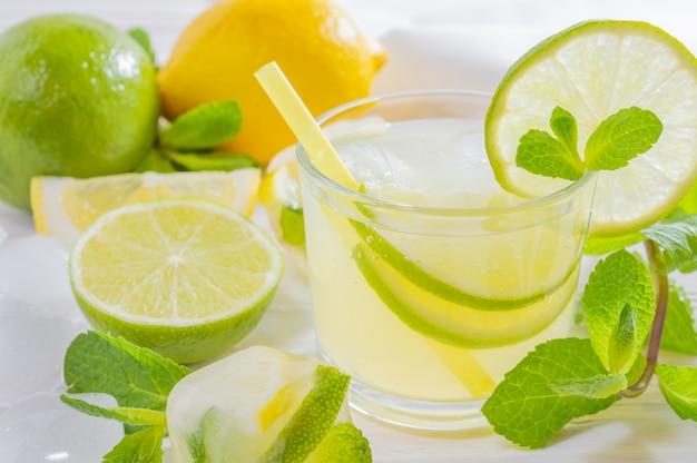 Boisson d'été mojito au citron vert, citron et menthe Photo Premium