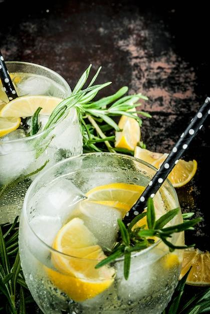 Boisson fraîche au citron et romarin Photo Premium