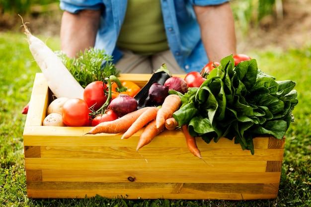 Boîte En Bois Remplie De Légumes Frais Photo gratuit