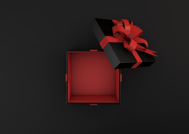 Boîte Cadeau Noire Sur La Vue De Dessus De Fond Sombre. Concept De Vente Vendredi Noir Rendu 3d Photo Premium