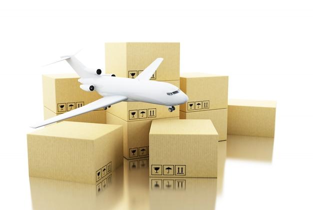 Boîte en carton 3d et avion Photo Premium