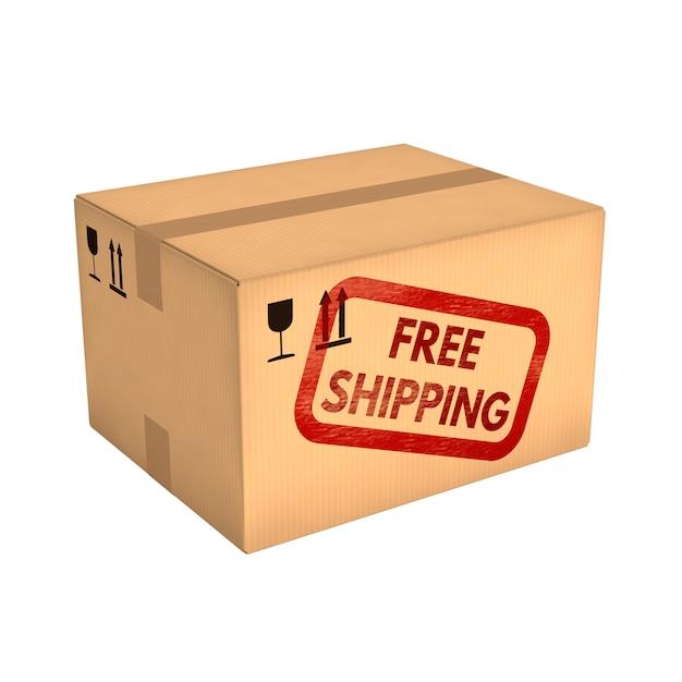Boîte en carton fermée isolé sur fond blanc Photo Premium