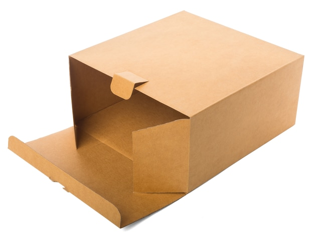 Boîte En Carton Ouverte Isolé Sur Fond Blanc Photo Premium