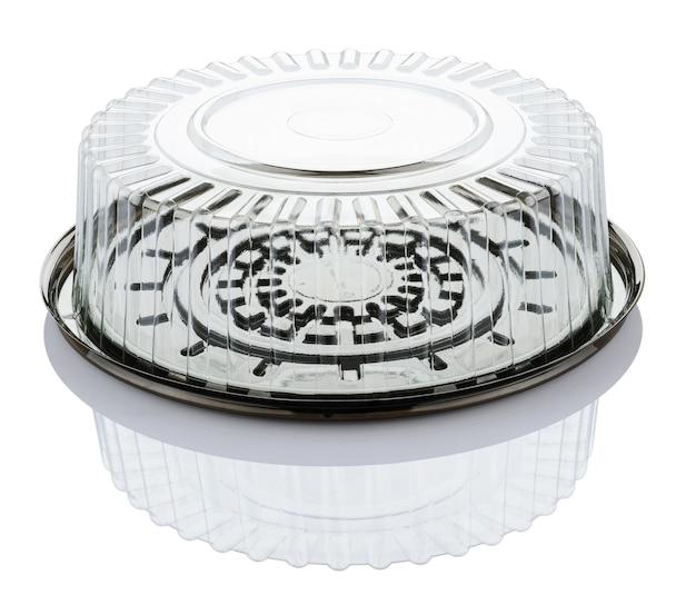 Boîte De Gâteau En Plastique Transparent Vide Isolé Sur Fond Blanc Avec Un Tracé De Détourage Photo Premium