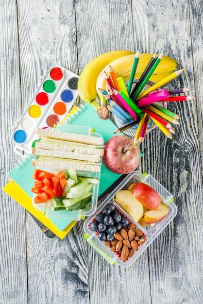 Boîte à lunch scolaire saine Photo Premium