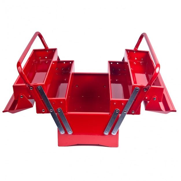 Boîte à outils en métal rouge isolé sur blanc Photo Premium