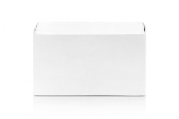 Boîte en papier blanc pour la conception de produits. Photo Premium