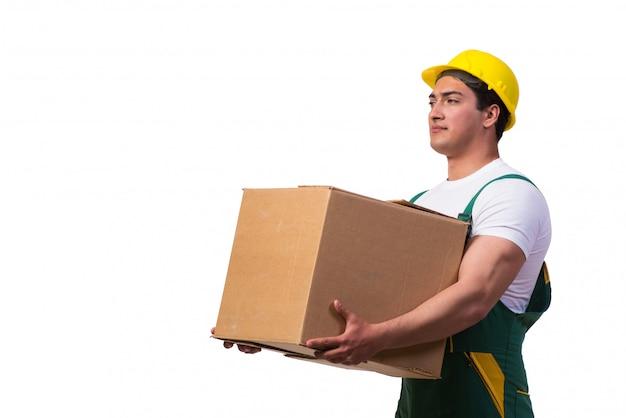 Boîtes de déménagement homme isolés Photo Premium