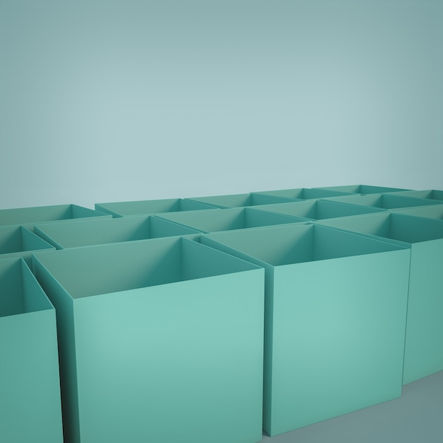 Boîtes Vides En Forme De Cube. Rendu 3d. Photo Premium