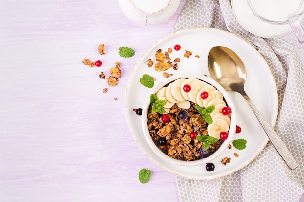 Bol De Granola Fait Maison Avec Du Yaourt Et Des Baies Fraîches Photo Premium
