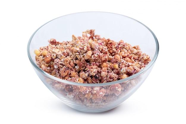 Bol de granola petit déjeuner isolé Photo Premium