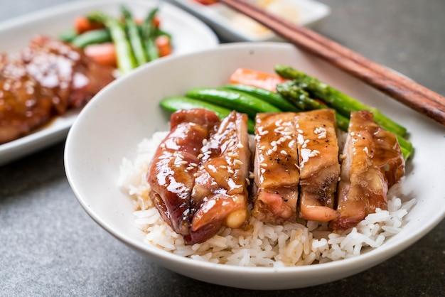 Bol de riz teriyaki Photo Premium