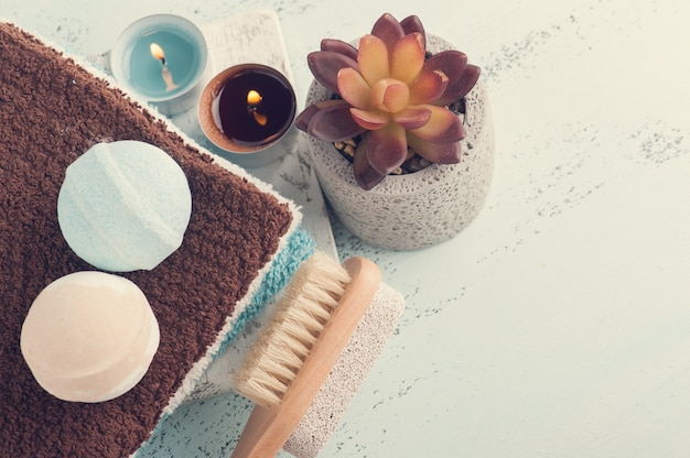 Bombes de bain, composition de spa Photo Premium