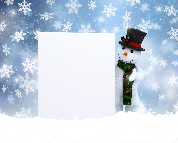 Bonhomme de neige avec signe vierge Photo gratuit