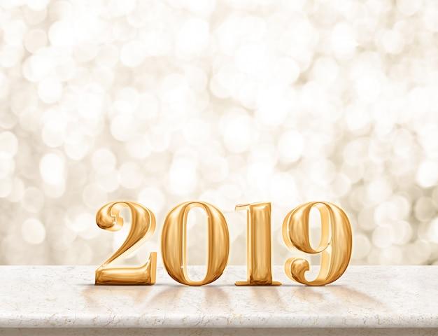 Bonne année 2019 or brillant sur table de marbre avec bokeh or brillant Photo Premium