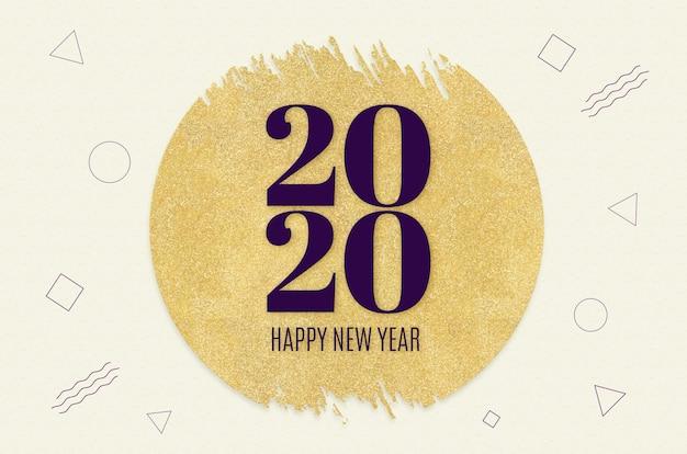 Bonne année 2020 mot sur le cercle d'or paillettes sur le motif crème de forme géométrique moderne Photo Premium