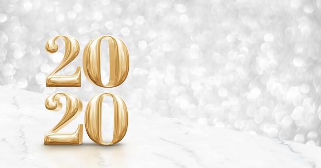 Bonne Année 2020, Table De Marbre Blanc D'angle Or Avec Bokeh Argent Brillant Photo Premium