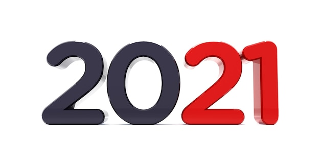 Bonne Année 2021 Célébration Texte 3d. Modèle De Calendrier De Numéro Rouge 2021 Photo Premium
