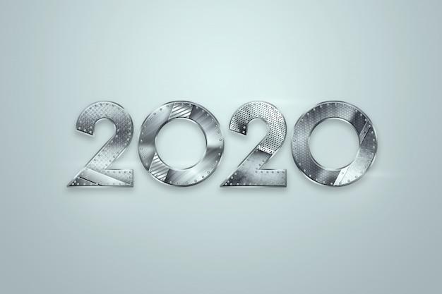 Bonne année, chiffres métalliques 2020 design sur fond clair. joyeux noël Photo Premium