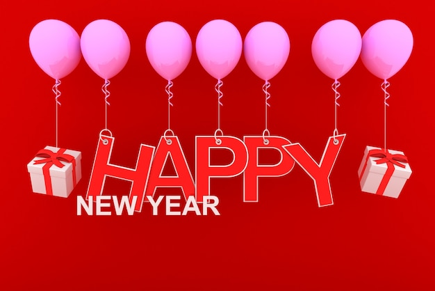Bonne Année Concept Avec Papier Rouge Découpé Et Coffrets Cadeaux Blancs Et Rubans Rouges Sur Ballon Rose Avec Fond Rouge Photo Premium