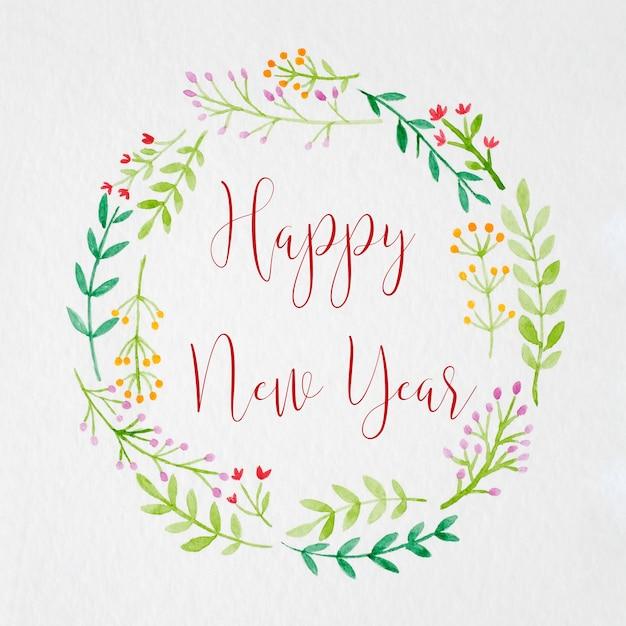 Bonne Année à La Main Peinture Guirlande De Fleurs Dans Un Style Aquarelle Photo Premium