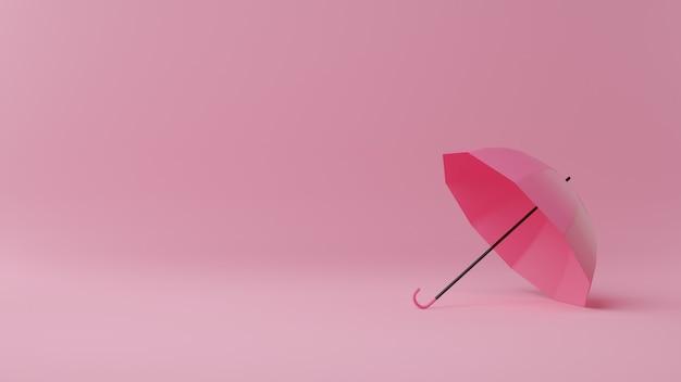 Bonne Saison De La Mousson. Parapluie Sur Rose. Illustration De Rendu 3d. Photo Premium