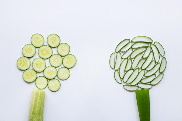Bons soins de la peau et en bonne santé avec des ingrédients naturels, aloe vera et concombres isolés sur blanc Photo Premium