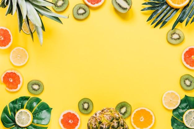 Bordure de feuilles et de fruits exotiques Photo gratuit