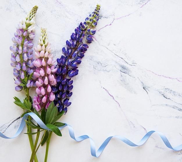 Bordure de fleurs de lupin rose et violet Photo Premium