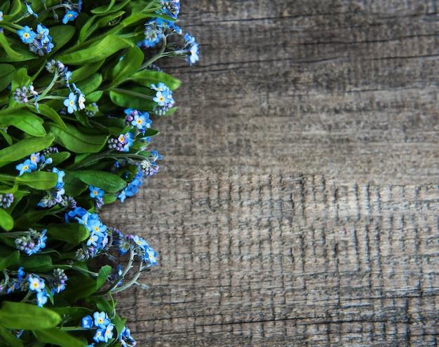 Bordure de fleurs de myosotis Photo Premium