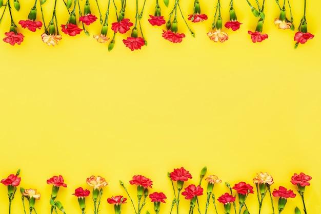 Bordure De Fleurs D'oeillet Sur Fond Jaune. Photo Premium