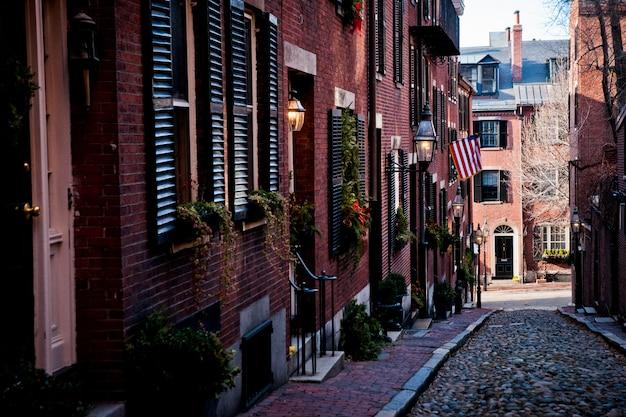 Boston, massachusett - 16 janvier 2012: rues de la ville en hiver Photo Premium