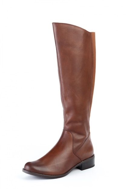 Bottes de cuir femme haut genou isolés on white Photo Premium