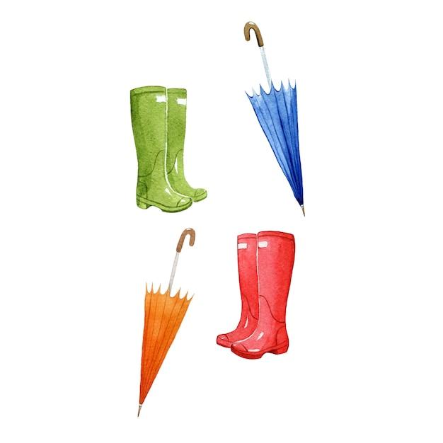 Bottes de pluie et parapluies, symboles de la saison de l'aquarelle Photo Premium