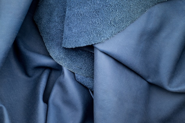 Bouchent fond de texture de cuir bleu marine pli Photo Premium