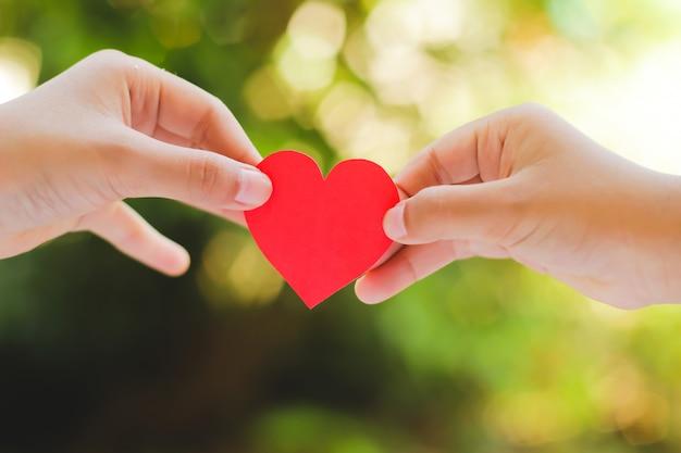 Bouchent la main des enfants tenant un mini coeur sur fond vert. Photo Premium