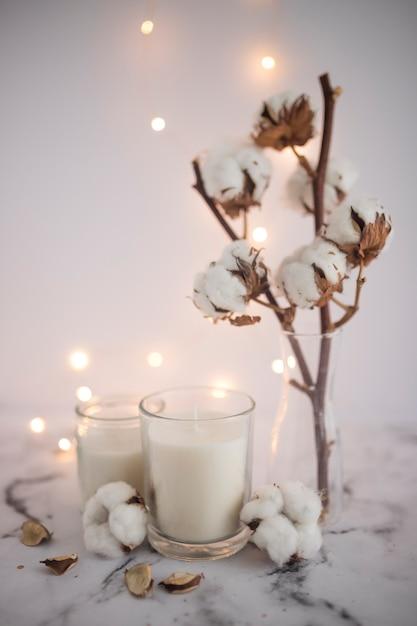 Bougie, bougeoir, près, rameau coton, marbre Photo gratuit