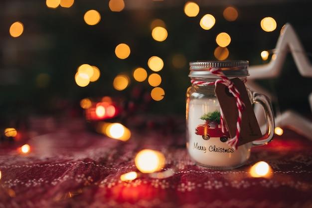 Bougie De Noël, Bokeh De Lumières De Noël, Lumière De Bougie. Photo Premium