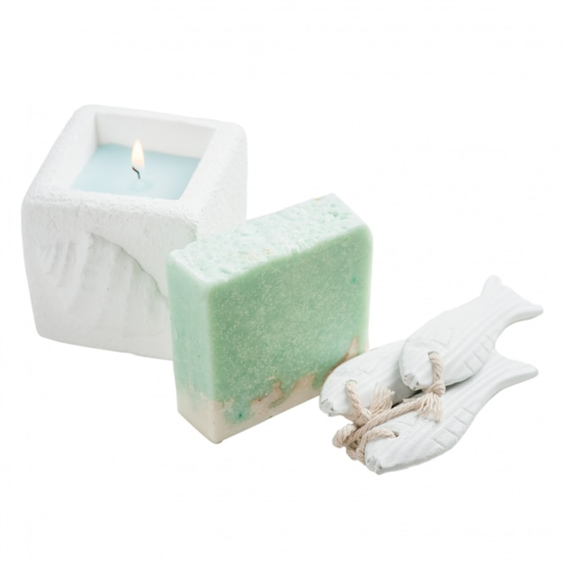 Bougie, savon artisanal blanc et turquoise Photo Premium