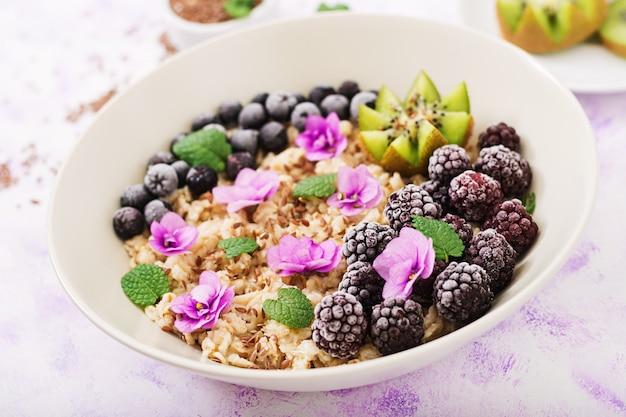 Bouillie D'avoine Savoureuse Et Saine Avec Des Fruits, Des Baies Et Des Graines De Lin. Petit-déjeuner Sain. Nourriture De Fitness. Nutrition Adéquat. Photo gratuit