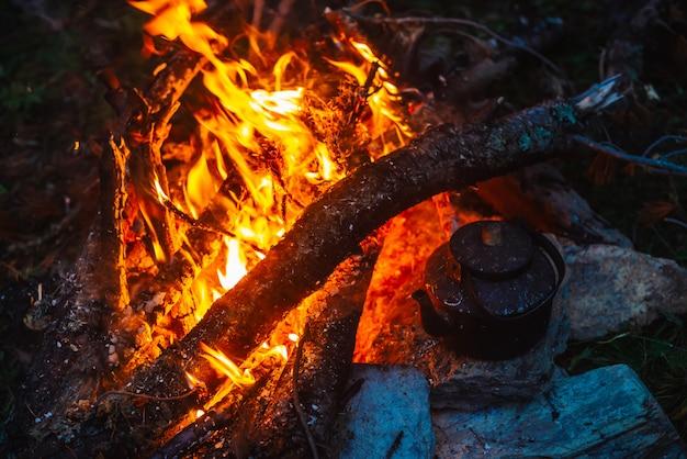Bouillir du thé dans une bouilloire sur un feu de joie avec un grand bois de chauffage. Photo Premium