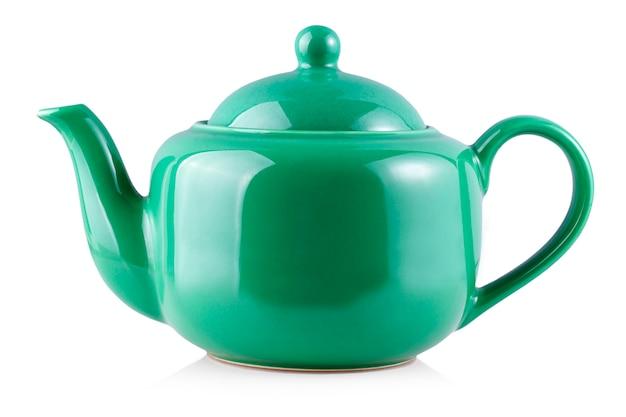 La bouilloire de théière verte isolée sur blanc Photo Premium